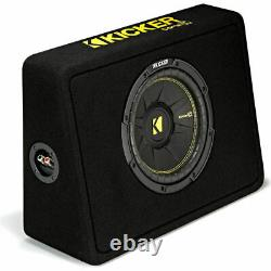 2 Kicker 44TCWC102 CompC 2-Ohm Loaded Shallow Subwoofer Box Enclosure