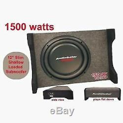 Audiobahn 12 1500W Car Truck Shallow Slim Loaded Boom Bass box Subwoofer