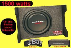 Audiobahn 12 inch Shallow Slim Loaded subwoofer box for camper van Car Truck