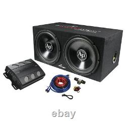 Audiopipe Super Bass Combo Pack 600 Watts Max Dual 12 Loaded Box Amp Amp Kit