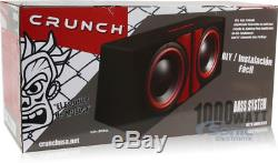 Crunch CR-212A 1000w Dual 12 Powered Loaded Subwoofers In Enclosure + Amp Kit