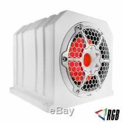 DS18 10 Sub Woofer White Marine Box Loaded RGB LED 4 Ohm 700W NXL10SUBLD