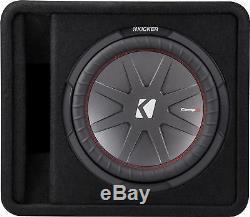 KICKER CompR 12 Dual-Voice-Coil 2-Ohm Loaded Subwoofer Enclosure Black