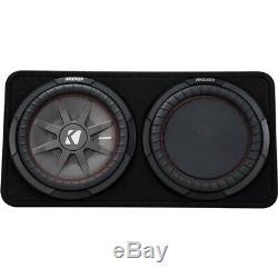 KICKER CompRT 12 Dual-Voice-Coil 2-Ohm Loaded Subwoofer Enclosure Black