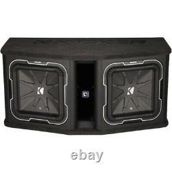 KICKER Dual 12 Dual-Voice-Coil 2-Ohm Loaded Subwoofer Enclosure Black