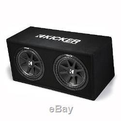 Kicker 12 Inch 600 Watt Comp Dual Car Audio Loaded Subwoofer Enclosure 43DC122