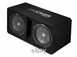 Kicker 43DCWR122 Dual 12 CompR Series Sub 1000W Loaded Subwoofer Box & HA-A400.1