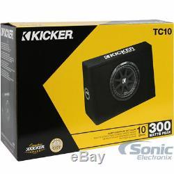 Kicker 43TC104 10 300W RMS Loaded Sub Enclosure+Boss R1100M 1100W Amp+Amp Kit