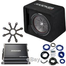 Kicker 43VCWR122 12 CompR Loaded Enclosure with 43CXA6001 Sub Amplifier & Grill