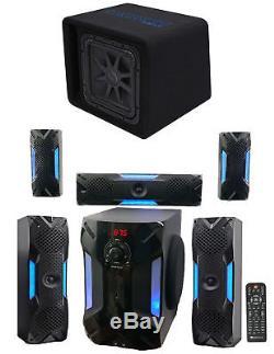 Kicker 44VL7S122 12 1500w L7 Solo-Baric L7S Loaded Sub Box+Home Theater System