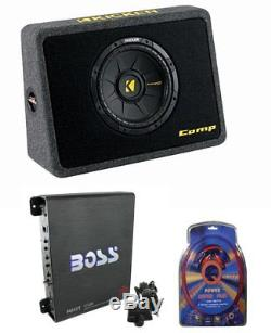 Kicker Car Loaded Subwoofer Sub + Box + Amplifier + Kit (Certified Refurbished)