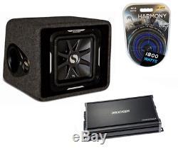 Kicker Car Stereo Vs12L7 Loaded 12 Ported Sub Box, CX1200.1 Amplifier & Amp Kit