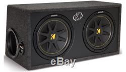 Kicker DC12 Loaded Dual 12 2-Ohm Comp Sub Subwoofer Package 600W Amplifier Kit