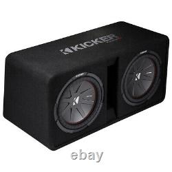 Kicker Dual 12 2000W 2-Ohm High-Performance Loaded Subwoofer Enclosure (2 Pack)