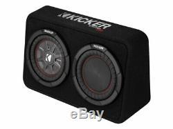 Kicker TCWRT8 Dual 8 4-Ohm Loaded CompRT Thin Profile Sub Box with 600W Amp Kit