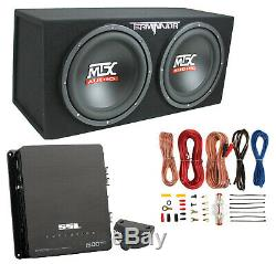 MTX 12 1200W Dual Loaded Car Audio Subwoofers with Box Enclosure Package