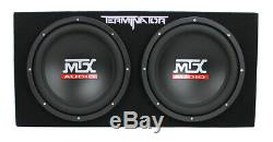MTX 12 1200W Dual Loaded Car Subwoofer Audio with Sub Box + Amplifier (2 Pack)