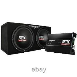 MTX 12 Dual Loaded Car Subwoofer with Sub Box, Amplifier, & QPower Wiring Amp Kit