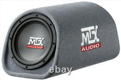 MTX Audio 8 Inch 240W Loaded Amplified Subwoofer (2 Pack) & Wire Kit (2 Pack)