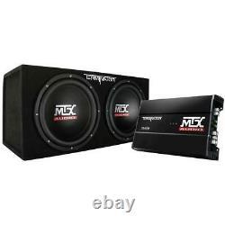 MTX Car Subwoofer Audio Sub Box 12 Inch Dual Loaded Wireless Remote 1200 Watt