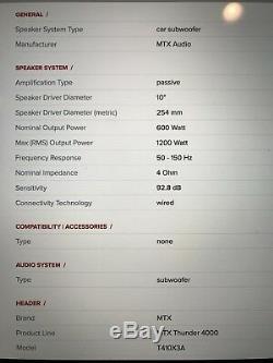 MTX T410X3A Triple 10 Loaded Sub Box Car Audio 1200 Watts