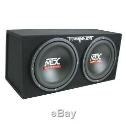 MTX TNE212D 12 1200W Dual Loaded Car Subwoofer Enclosure with Amplifier & Wiring