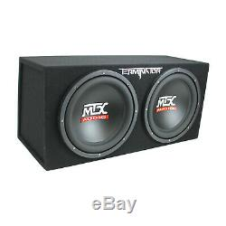 MTX TNE212D 12 1200W Dual Loaded Car Subwoofers + Box + Planet 1500W Amp + Kit