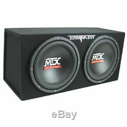 MTX TNE212D 12 1200W Dual Loaded Car Subwoofers + Box + Planet 1500W Amp + Kit