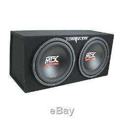 MTX TNE212D 12 1200W Dual Loaded Subwoofer Box + 1500W Amp + Wiring + Capacitor
