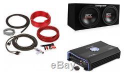 MTX TNE212D 12 Dual Loaded Car Subwoofers + Box + Planet Audio 1500W Amp + Kit