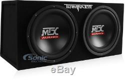 MTX TNE212D2 Dual 12 inch 1200 Loaded Car Subwoofer Box + Planet 1500W Amp + Kit