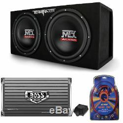 MTX TNE212DV 12 2000W Dual Loaded Car Subwoofers + Box + Boss 2000W Amp + Kit