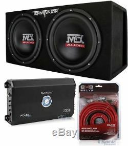 MTX TNE212DV 12 2000W Loaded Car Subwoofers + Enclosure Box + Amp + Amp Kit
