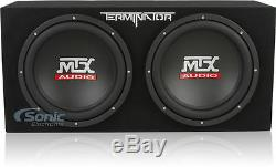 MTX TNP212D2 Loaded Dual 12 Car Subwoofer Box with Amplifier and Install Kit