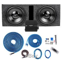 New Skar Audio Dual 12 Loaded Ported Sub Box Package W Rp-350.1d & 4ga Wire Kit