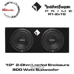 Rockford Fosgate Prime R1-2X10 Twin R1 10 800 Watt Loaded Enclosure Subwoofer