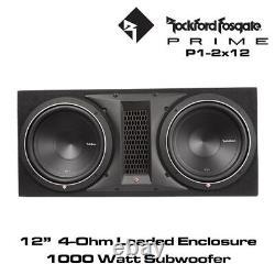Rockford Fosgate Punch Series P1-2X12 Dual P1 12 Loaded Enclosure 1000 Watt