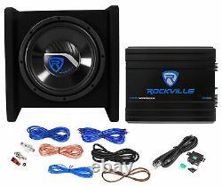 Rockville RV10.1D 500w 10 Loaded Car Subwoofer Enclosure+Mono Amplifier+Amp Kit