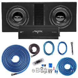 Skar Audio Dual 10 4000 Watt Complete Subwoofer Loaded Vented Box And Amplifier